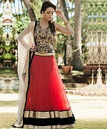 Red & Black Net Designer Lehenga Choli@ Rs.772.00