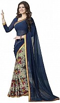 Beautiful Blue Printed,lace Work Georgette Saree