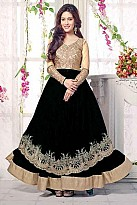 Black Semi Stitched Net Anarkali Salwar Suit