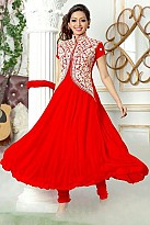 Red Semi Stitched Georgette Anarkali Salwar Suit