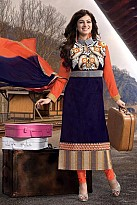 Beautiful Blue Cotton Semi Stitched Salwar Suit