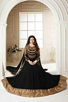 Black Semi Stitched Georgette Anarkali Salwar Kameez