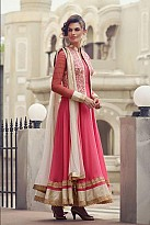 Pink Semi-Stitched Georgette Party Wear Salwar Suit