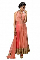 Peach Net Semi-stitched Anarkali Suit