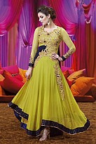 Beautiful Green Georgette Semi-Stitched Salwar suit