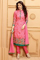 Pink Georgette Semi-stitched Salwar suit