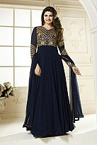 Stunning Blue Georgette Semi-Stitched Salwar suit