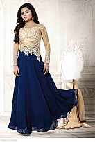 Blue Georgette Semi-stitched Salwar Suit