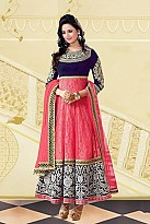 Beautiful Pink & Blue Georgette Semi-stitched Salwar Suit