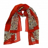 Polyster Printed Red Scarf
