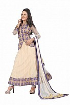 Beautiful Cream Soft Net Semi-Stitched Salwar Suit