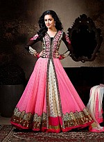 Beautiful Black And Pink Soft Net Semi-Stitched Salwar Suit