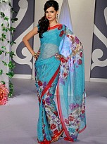 Blue Floral Print Chiffon Saree with Blouse