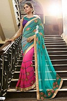 Designer Multicolor Embroidered Georgette Saree