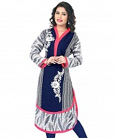 Blue Georgette Embroidered Kurti