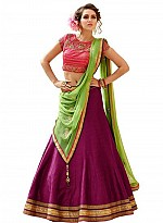New Latest Magenta And Pink Banglori Silk Lehegha Choli