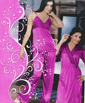 Womens 2PC Pink Satin Sleep Wear
