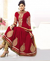 kirti red heavy embroidared anarkali suit