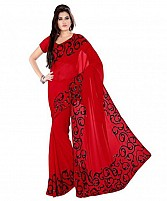 Embroidered Red Chiffon Saree