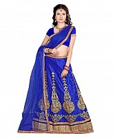 Blue Net Embroidered Unstiched Lehenga Choli And Dupatta set