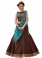 New Banglori Silk Blue And Brown Lehegha Choli