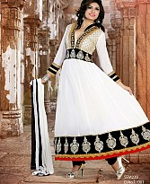 New fancy white Embroidered Anarkali Suit
