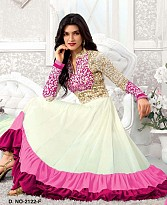 New Fancy pink & White Anarkali Suite