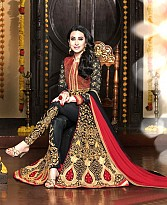 vandv Dark Black & Maroon Georgette Designer Anarkali Suit