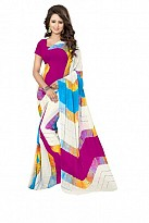 New White & Pink Printed Heavy Nazneen Casual Saree