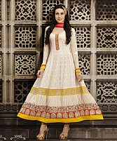 Karishma Kapoor Latest Designer Cream Georgette Anarkali Suit