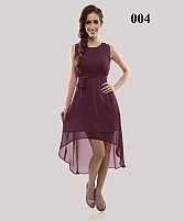 Dark Purple Casual Georgette Semi-stitched Kurti