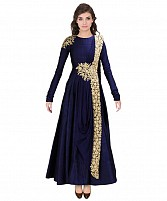 New Blue Floor Touch Embroidered Designer Gown