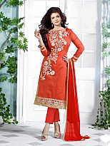 Lovely Orange Floral Embroidery Cotton salwar suit