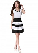 Vandvshop New Black & White Georgette Designer Western Dress