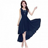 Vandvshop New Dark Blue Georgette Designer Western Dress