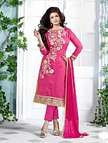 Lovely Pink Floral Embroidery Cotton salwar suit