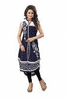 Panchi Blue Georgette Embroidered Stitched Kurti