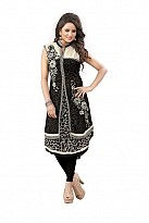 Panchi Black Georgette Embroidered Stitched Kurti
