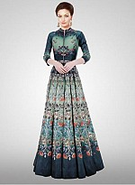 Designer New Turquoise Long Printed Semi Stitched Gown