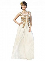 Amazing White Designer Embroidered Gown