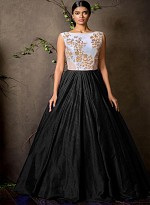 New White & Black Colour Floor Touch Semi Stitched Designer Gown