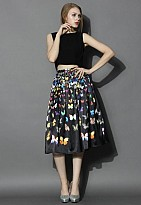 New Black Crepe Printed Designer Party Wear Skirt