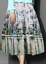 New Sky Crepe Printed Designer Party Wear Skirt