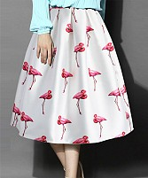 White Colour Printed Womens Skirt