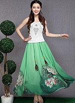 Green Colour Digital Printed Womens Skirt