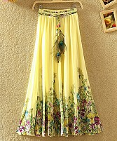 Yellow Colour Faux Georgette Womens Skirt
