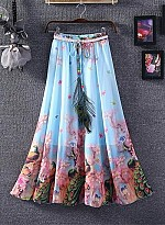 Blue & Pink Colour Faux Georgette Womens Skirt