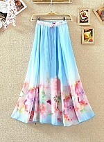 Sky Blue Colour Digital Printed Women's Designer Skirt