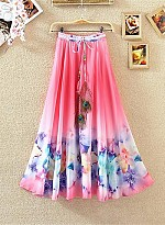 New Latest Pink Colour Digital Printed Women's Fancy Skirt