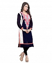 Blue and White Georgette Embroidered Party Wear A-line Style Stitched Designer Kurti For Women